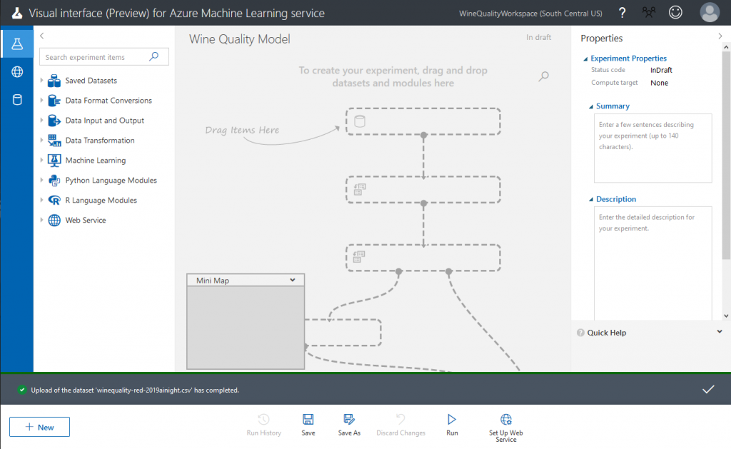 The appearance of Azure Machine Learning Visual Interface